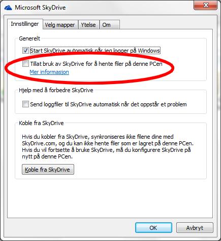 Slaa av SkyDrive